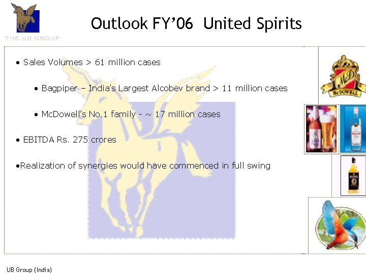 Outlook FY' 06 United Spirits • Sales Volumes > 61 million cases • Bagpiper