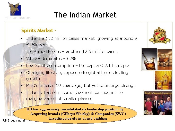 The Indian Market Spirits Market • India is a 112 million cases market, growing