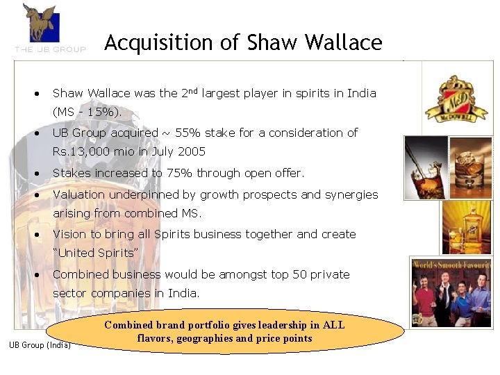 Acquisition of Shaw Wallace • Shaw Wallace was the 2 nd largest player in