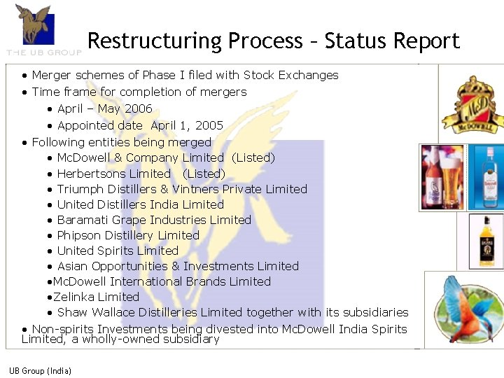 Restructuring Process – Status Report • Merger schemes of Phase I filed with Stock