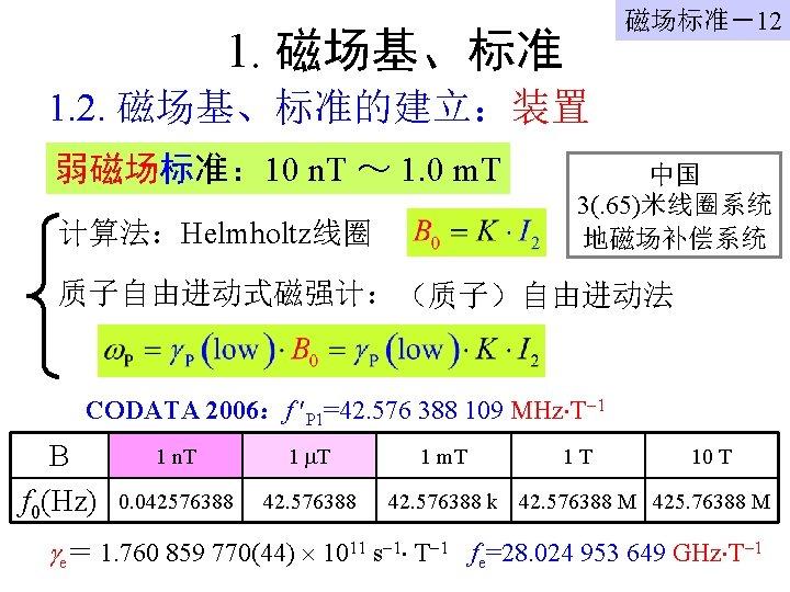 磁场标准-12 1. 磁场基、标准 1. 2. 磁场基、标准的建立:装置 弱磁场标准: 10 n. T ~ 1. 0 m.