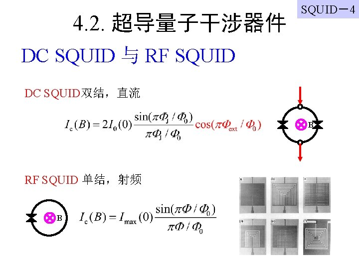 4. 2. 超导量子干涉器件 SQUID-4 DC SQUID 与 RF SQUID DC SQUID双结,直流 B RF SQUID