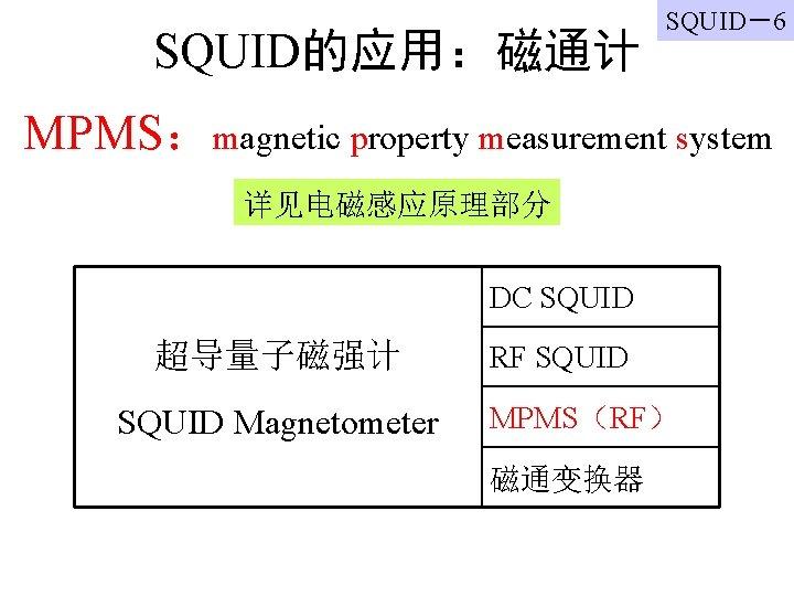 SQUID的应用:磁通计 SQUID-6 MPMS:magnetic property measurement system 详见电磁感应原理部分 DC SQUID 超导量子磁强计 SQUID Magnetometer RF SQUID