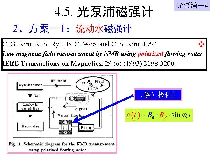 4. 5. 光泵浦磁强计 光泵浦-4 2、方案-1:流动水磁强计 C. G. Kim, K. S. Ryu, B. C. Woo,