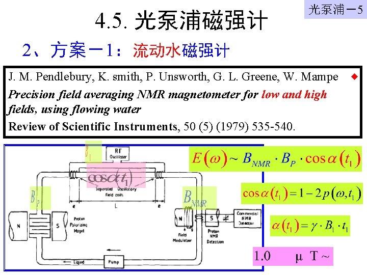 4. 5. 光泵浦磁强计 光泵浦-5 2、方案-1:流动水磁强计 J. M. Pendlebury, K. smith, P. Unsworth, G. L.