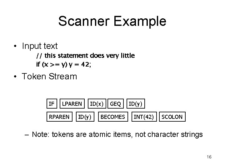 Scanner Example • Input text // this statement does very little if (x >=