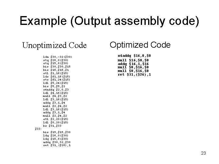 Example (Output assembly code) Unoptimized Code $33: lda $30, -32($30) stq $26, 0($30) stq