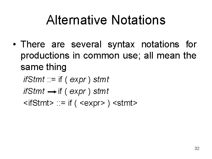 Alternative Notations • There are several syntax notations for productions in common use; all