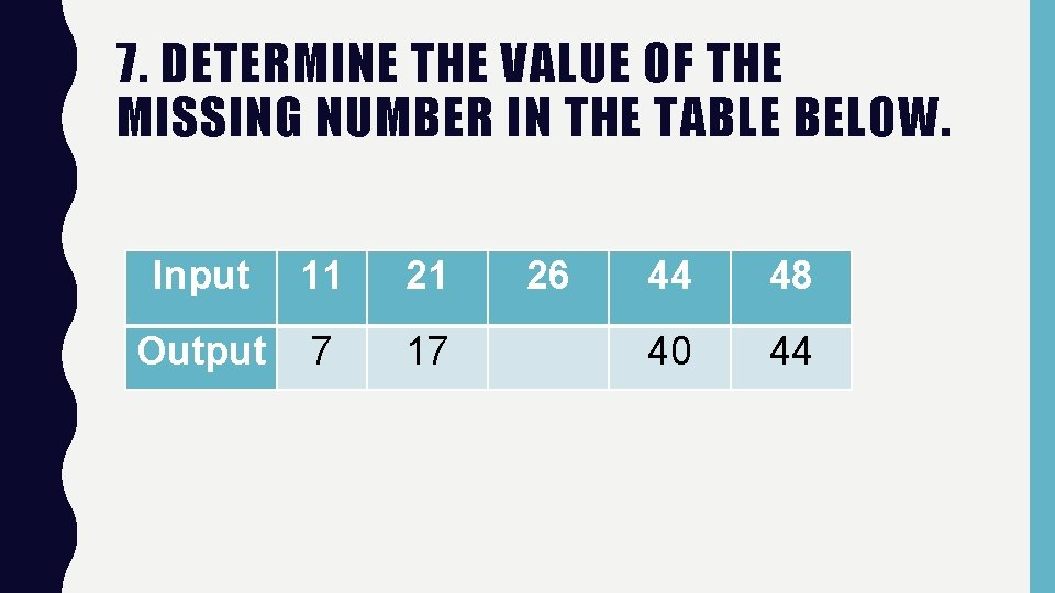 7. DETERMINE THE VALUE OF THE MISSING NUMBER IN THE TABLE BELOW. Input 11