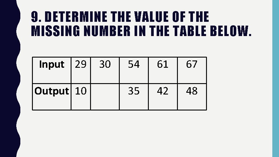 9. DETERMINE THE VALUE OF THE MISSING NUMBER IN THE TABLE BELOW. Input 29