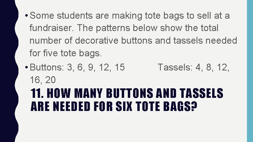 • Some students are making tote bags to sell at a fundraiser. The