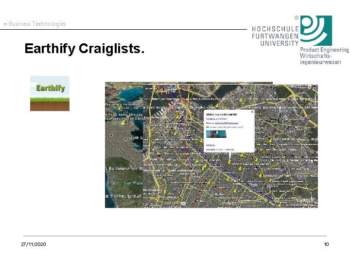 e-Business Technologies Earthify Craiglists. 27/11/2020 10