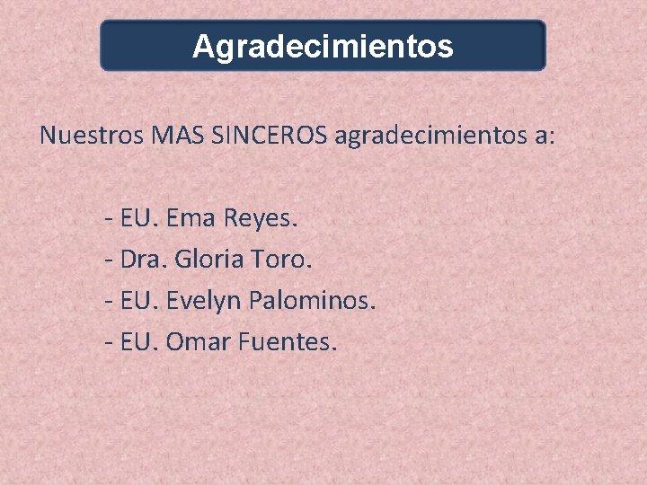 Agradecimientos Nuestros MAS SINCEROS agradecimientos a: - EU. Ema Reyes. - Dra. Gloria Toro.