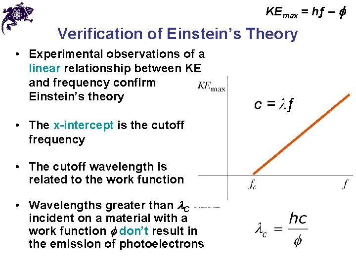 KEmax = hƒ – f Verification of Einstein's Theory • Experimental observations of a