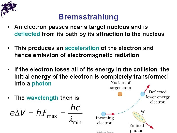 Bremsstrahlung • An electron passes near a target nucleus and is deflected from its