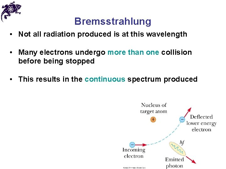 Bremsstrahlung • Not all radiation produced is at this wavelength • Many electrons undergo