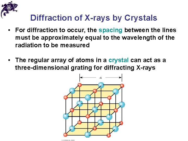Diffraction of X-rays by Crystals • For diffraction to occur, the spacing between the