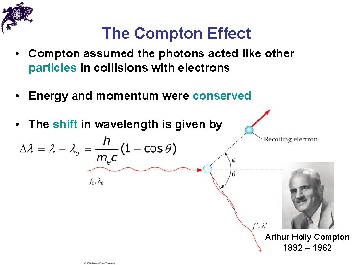 The Compton Effect • Compton assumed the photons acted like other particles in collisions