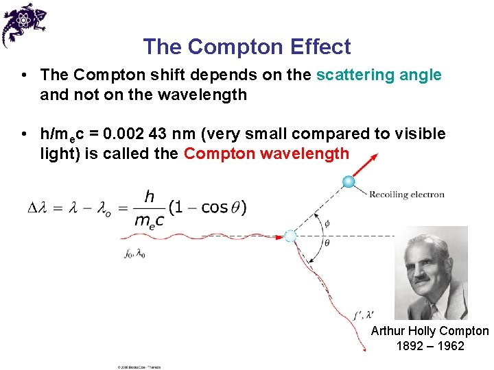 The Compton Effect • The Compton shift depends on the scattering angle and not