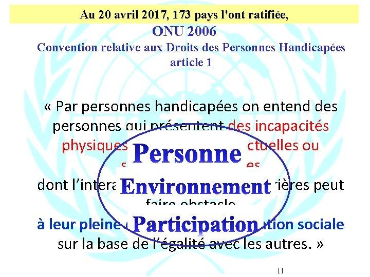 Au 20 avril 2017, 173 pays l'ont ratifiée, ONU 2006 Convention relative aux Droits