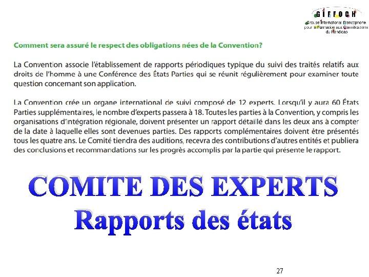 COMITE DES EXPERTS Rapports des états 27