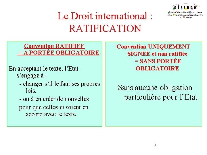 Le Droit international : RATIFICATION Convention RATIFIEE = A PORTÉE OBLIGATOIRE En acceptant le
