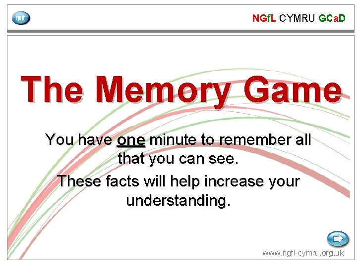 NGf. L CYMRU GCa. D The Memory Game You have one minute to remember