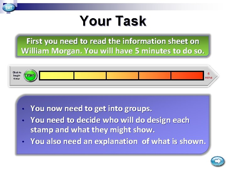 Your Task First you need to read the information sheet on William Morgan. You