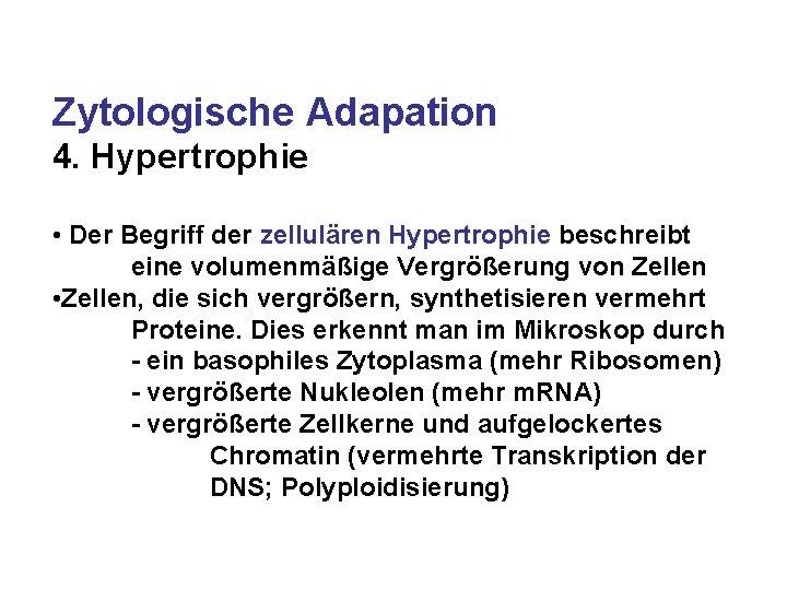 Zytologische Adapation 4. Hypertrophie • Der Begriff der zellulären Hypertrophie beschreibt eine volumenmäßige Vergrößerung