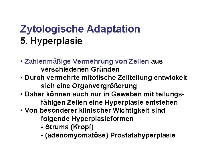 Zytologische Adaptation 5. Hyperplasie • Zahlenmäßige Vermehrung von Zellen aus verschiedenen Gründen • Durch