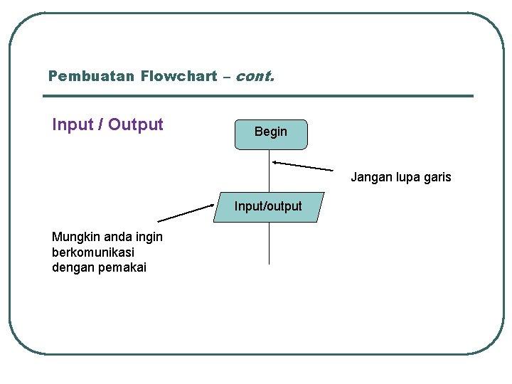 Pembuatan Flowchart – cont. Input / Output Begin Jangan lupa garis Input/output Mungkin anda