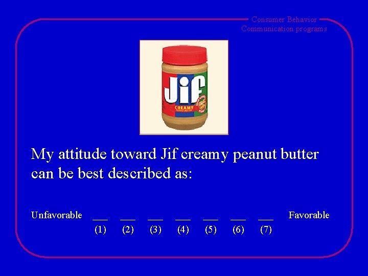Consumer Behavior Communication programs My attitude toward Jif creamy peanut butter can be best