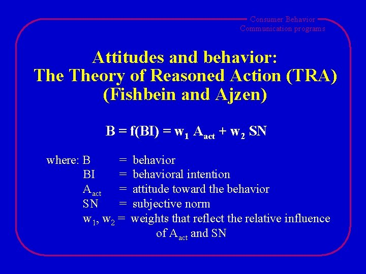 Consumer Behavior Communication programs Attitudes and behavior: Theory of Reasoned Action (TRA) (Fishbein and