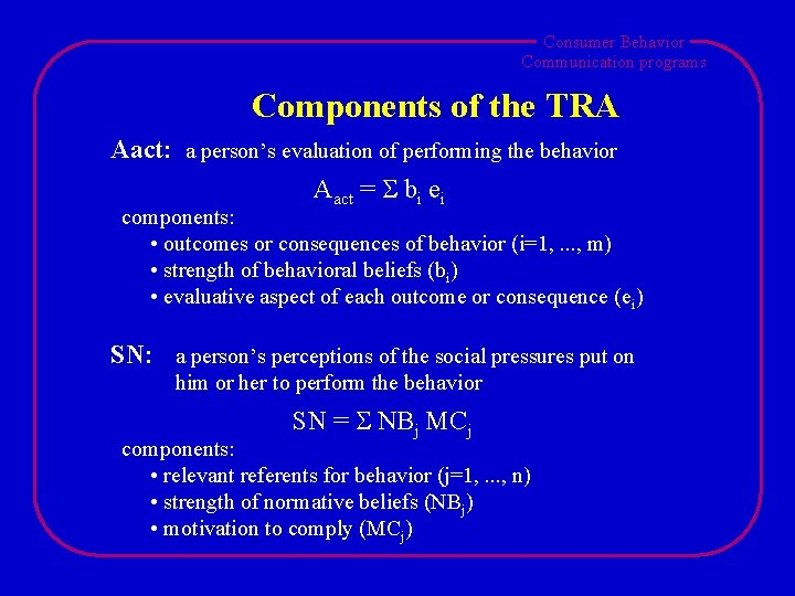 Consumer Behavior Communication programs Components of the TRA Aact: a person's evaluation of performing