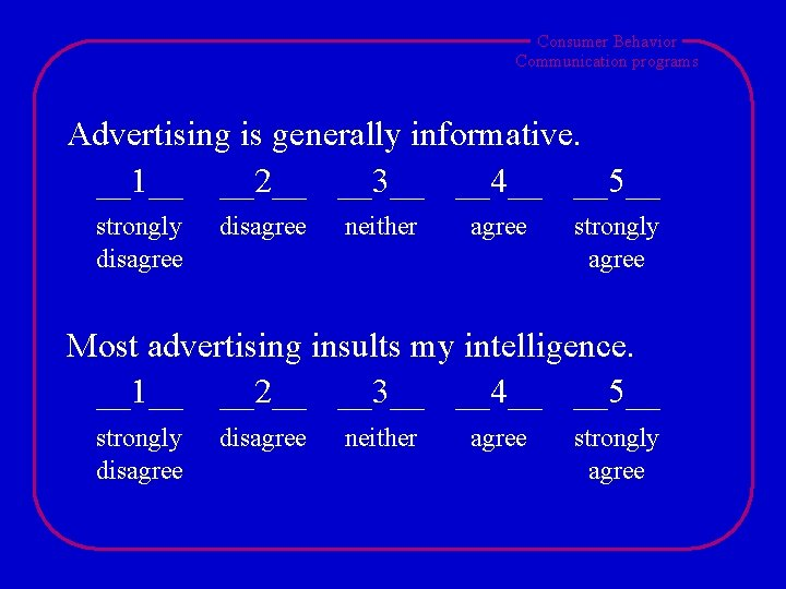 Consumer Behavior Communication programs Advertising is generally informative. __1__ __2__ __3__ __4__ __5__ strongly
