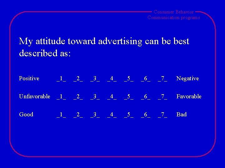 Consumer Behavior Communication programs My attitude toward advertising can be best described as: Positive