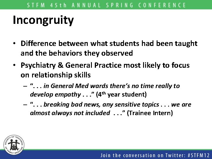 Incongruity • Difference between what students had been taught and the behaviors they observed