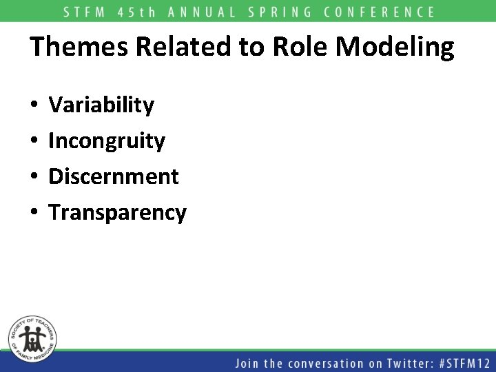 Themes Related to Role Modeling • • Variability Incongruity Discernment Transparency