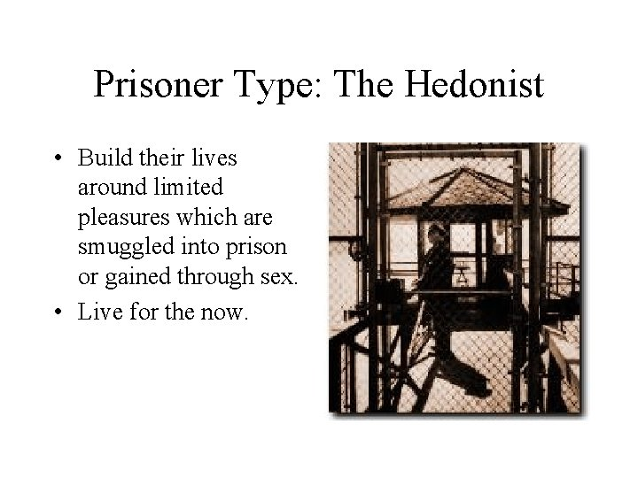 Prisoner Type: The Hedonist • Build their lives around limited pleasures which are smuggled