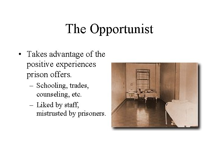The Opportunist • Takes advantage of the positive experiences prison offers. – Schooling, trades,