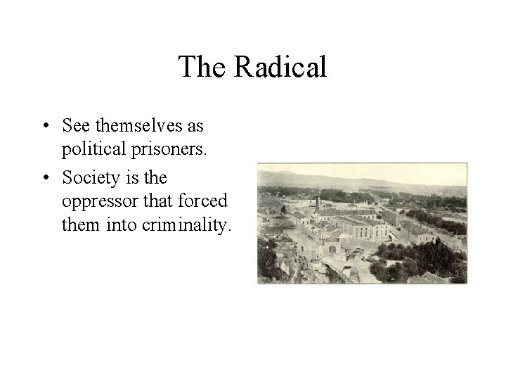 The Radical • See themselves as political prisoners. • Society is the oppressor that