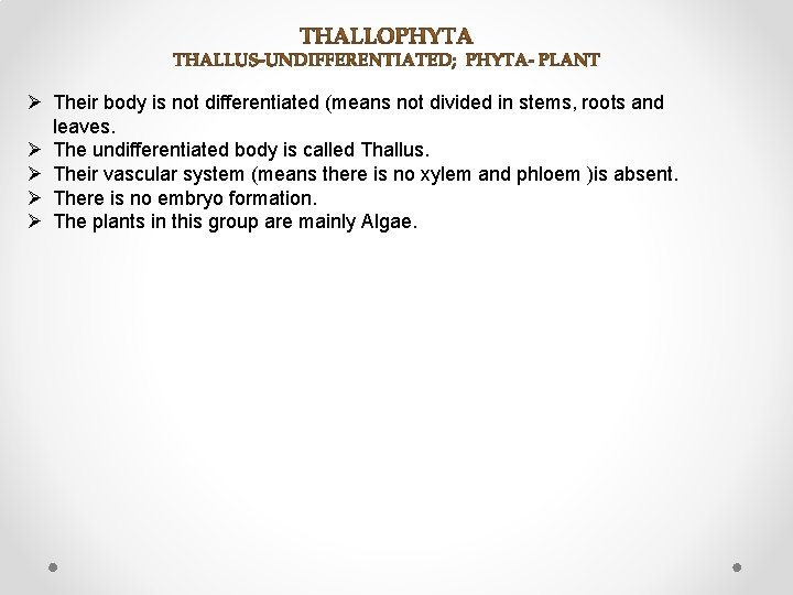 Ø Their body is not differentiated (means not divided in stems, roots and leaves.
