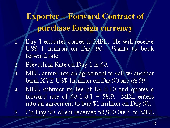 Exporter – Forward Contract of purchase foreign currency 1. 2. 3. 4. 5. Day