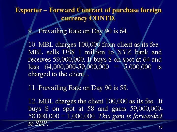Exporter – Forward Contract of purchase foreign currency CONTD. 9. Prevailing Rate on Day