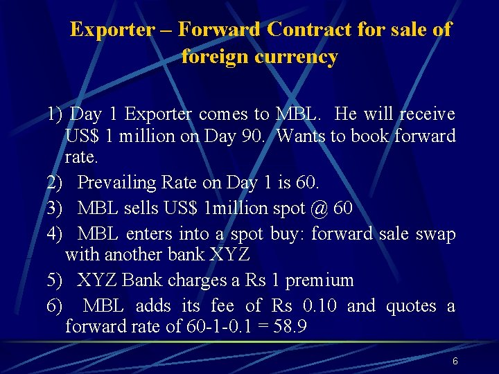 Exporter – Forward Contract for sale of foreign currency 1) Day 1 Exporter comes