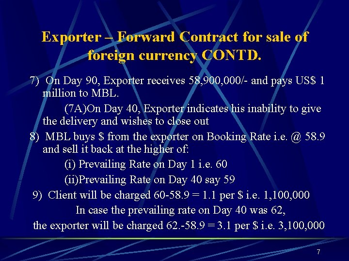 Exporter – Forward Contract for sale of foreign currency CONTD. 7) On Day 90,