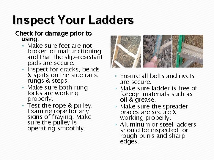 Inspect Your Ladders Check for damage prior to using: ◦ Make sure feet are
