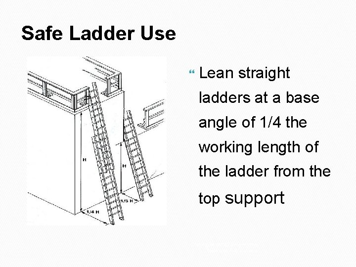 Safe Ladder Use Lean straight ladders at a base angle of 1/4 the working