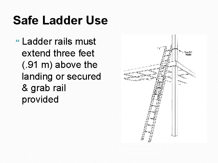 Safe Ladder Use Ladder rails must extend three feet (. 91 m) above the