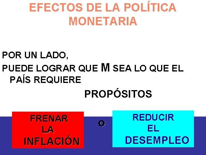 EFECTOS DE LA POLÍTICA MONETARIA POR UN LADO, PUEDE LOGRAR QUE M SEA LO
